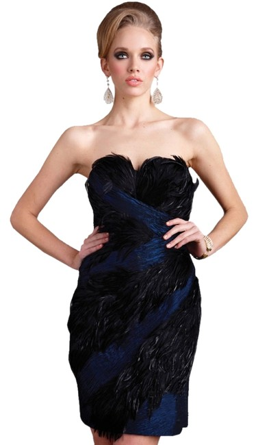 Terani Couture Terani Midnight Strapless Size 14 Feathers Dress