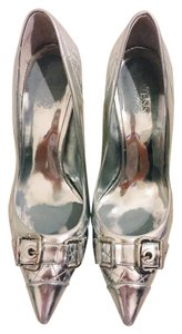 Guess By Marciano Heel Buckle Silver Pumps