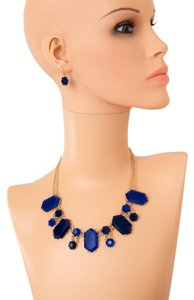 Other Blue Stone Bib Neclace and Earring Set