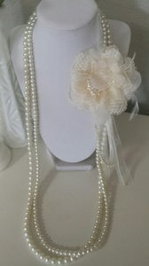 Long Multi Strand Pearl Necklace With Adjustable Lace Flower Pin