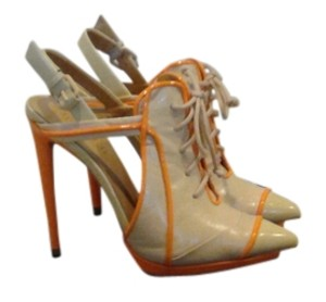 L.A.M.B. Tan and orange Pumps