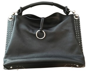 BCBGMAXAZRIA Pebble Leather Ring Stitching Hobo Bag