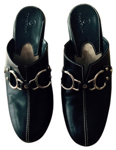 Cole Haan Silver Hardware Black leather Mules