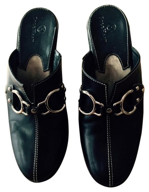 Item - Black Leather With Stitching and Silvertone Hardware Mules/Slides Size US 7