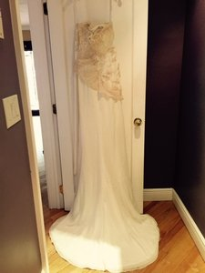 David's Bridal Ivory Gold Polyester Matte Satin Type Fabric and Lace with Sequins Strapless Embellished W/Ability To Transform Train Sexy Wedding Dress Size 12 (L)