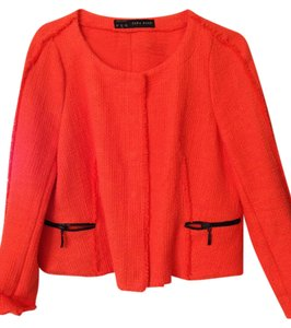 Zara Orange with black zippers Jacket