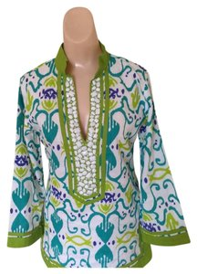 Sheridan French Calypso Tunic in Turquoise Hearts Size 4 Tunic