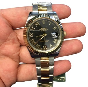 Rolex ROLEX DATE JUST II 41MM TWO TONE WITH BLACK ROMAN FACE