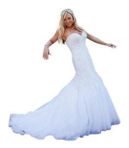 Allure Bridals White Tulle Couture C227 Wedding Dress Size 4 (S)