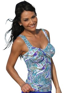 UjENA UjENA Twist Tankini Size L Swimwear Top Turquoise White & Purple