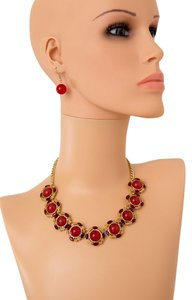 Other CIRCULAR SHAPED RED STONE JEWEL STATEMENT NECKLACE AND EARRING SET