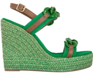 Tory Burch Designer Derby Green and Almond Wedges