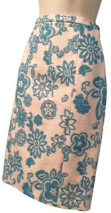 Moschino Cotton Floral Skirt torquoise and cream