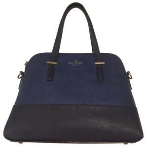 Kate Spade Multi Color Blue Satchel in Two-toned navy with gold detailing