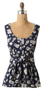 Anthropologie Sleeveless Shell Print Nautical Navy Cotton Blend Top