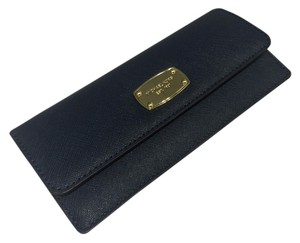 Michael Kors Michael Kors Jet Set Travel Flat Clutch Wallet Navy Leather with Gold Hardware
