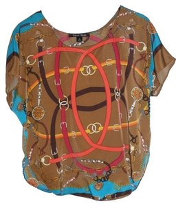 Sweet Revenge Hermes Chain-link Elegant Top Blue/Brown Multi