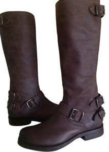 Frye Veronica Back Zip Brown Leather Tall Dark brown Boots