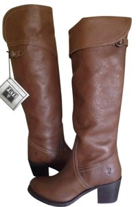 Frye Jane Over The Knee Leather Tall Taupe Boots