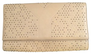 Saint Laurent Ysl Studded Tan Studs Metallic Hardware Wheat Clutch