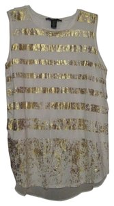 Kenneth Cole Sleeveless Striped Gold Top White
