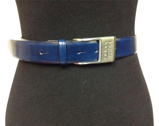 Gianfranco Ferre GIANFRANCO FERRE #09060 Blue Leather Belt w/ Brushed Silver Buckle