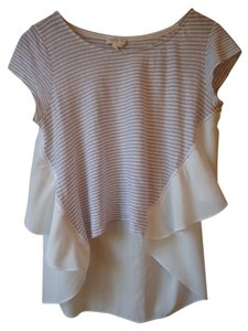 Anthropologie Meadow Rue Hi Lo Taupe Cream Ruffle Top