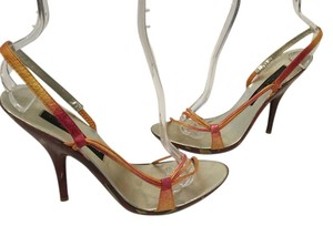 Laundry by Shelli Segal Stilettos Multi color leather lining soles leather slingback Sandals