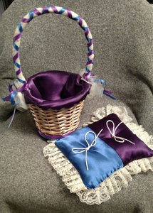 Purple/Blue/Burlap Items Flower Girl Basket