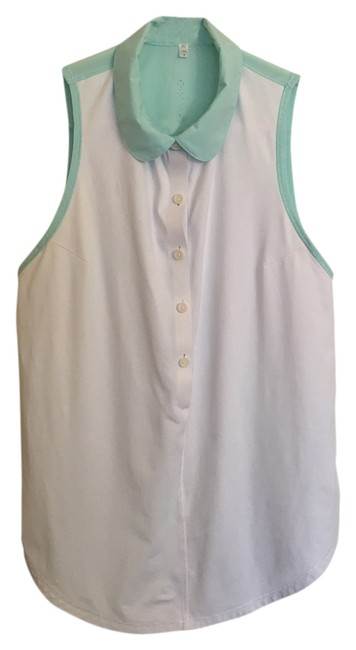 Item - White and Light Blue Hot Hitter Polo Activewear Top Size 6 (S, 28)