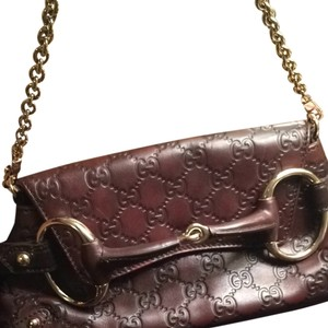 Gucci Leather Leather Brown Clutch