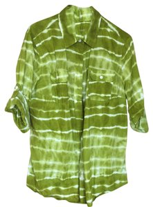 Jones New York Button Down Shirt Lime Green/White