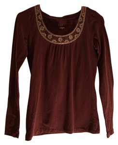 Ann Taylor LOFT Beaded Long Sleeve Top Maroon