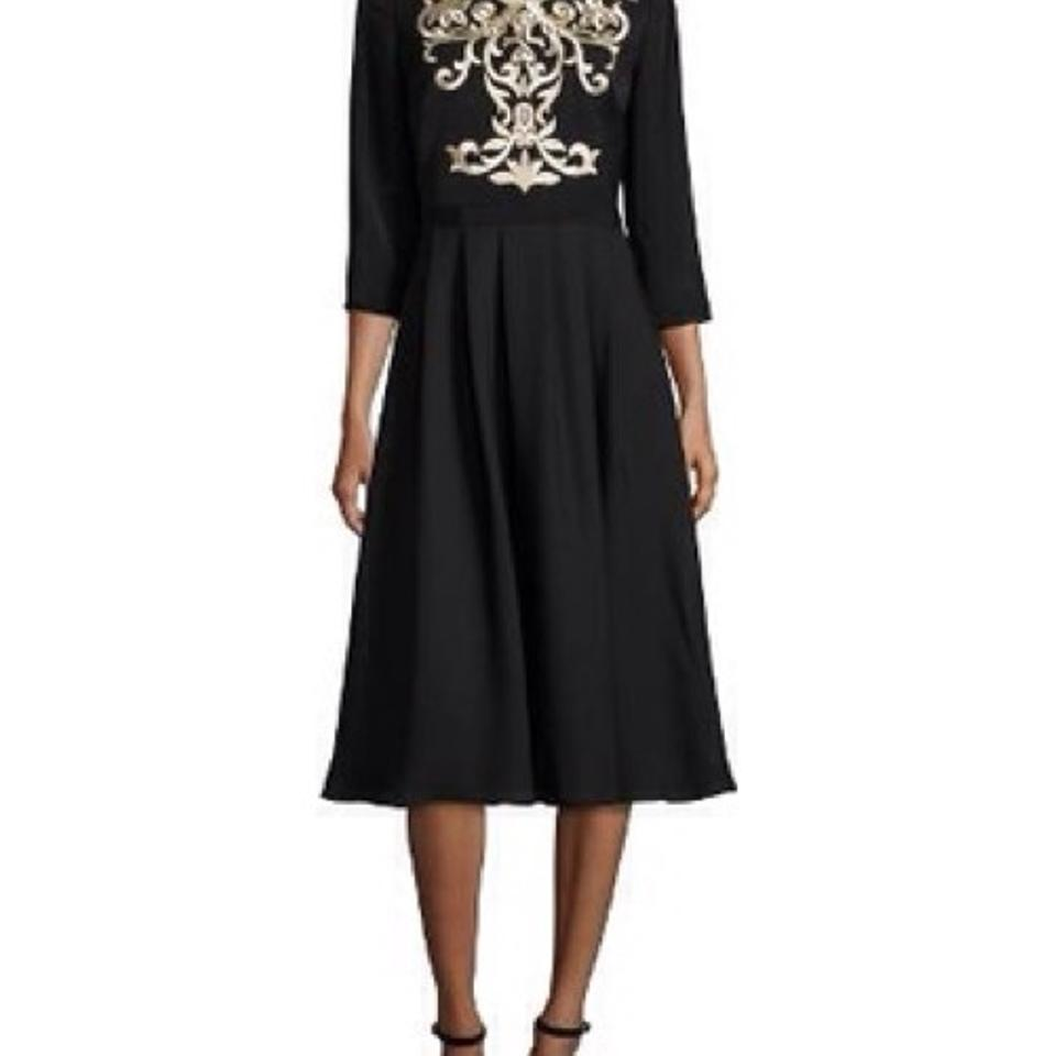 061a64c1667 Ted Baker Black Shamari Metallic Embroidered Bodice Mid-length Formal Dress  Size 4 (S) - Tradesy