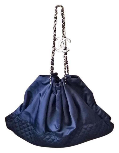 Item - W Like New Quilted Silk W/ Silver Hardware Midnight Blue Satin Shoulder Bag