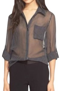 Diane von Furstenberg Top Black/white pinstripes