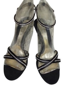 Casadei Crystal Swarovski Satin Heels Occasions black Sandals