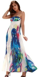White Maxi Dress by Other Watercolor Strapless Floral Roses