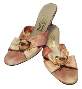 Salvatore Ferragamo Floral Pattern Italian Multi color fabric Mules