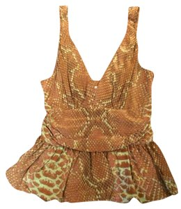 Tracy Reese Peplum Sleeveless Silk Top Brown and Green Snake Print