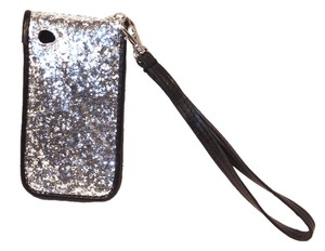 BOGO FREE - iPhone 4/4s wallet case cover wristlet Glitter Silver card slots