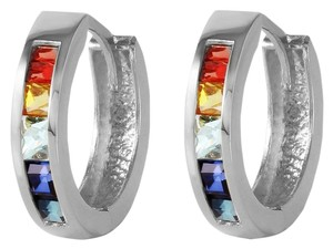 Other 14K White Gold Multi Color Natural Sapphires Hoop Huggie Earrings