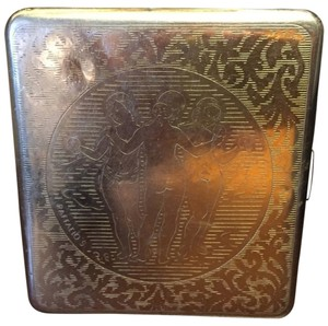 Cigarette Case - Nude Women Holding Apples on cover small dent, see photos for marks on inside
