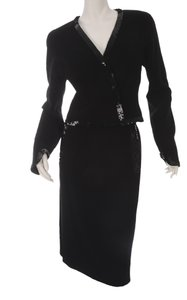 Chanel Women's Chanel Black Wool Sequined Skirt Suit, Size 38 (9683)