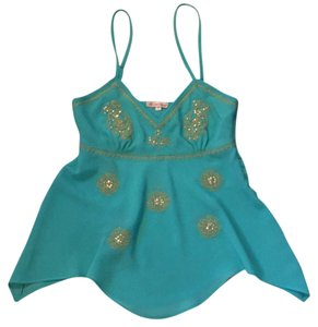 Rjean blouse Teal and gold Halter Top
