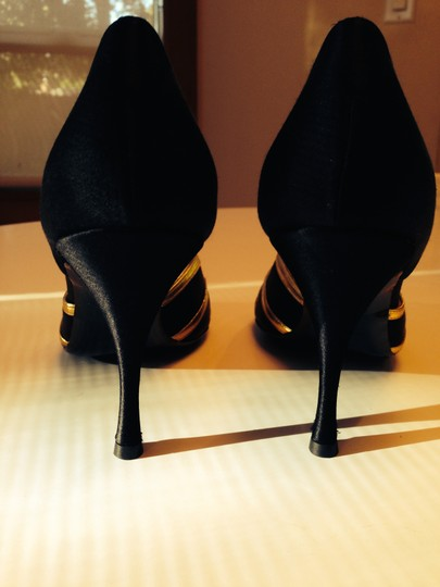 Hollywould Black Satin with Gold detail Pumps