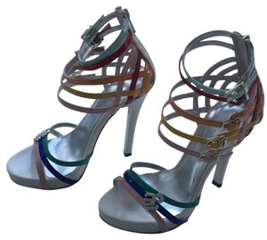 Rocawear Stiletto Night Out Party White with multicolor straps. Platforms