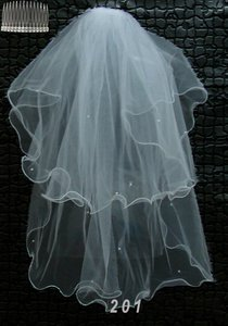 2 Layer White Wedding Veil Free Shipping