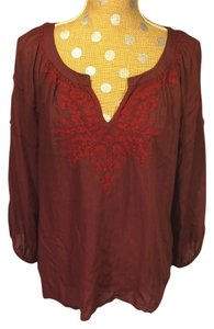 Lucky Brand Red Boho Peasant Embroidered Top