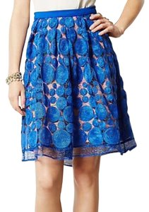 Anthropologie Flared Pink Skirt Cobalt blue